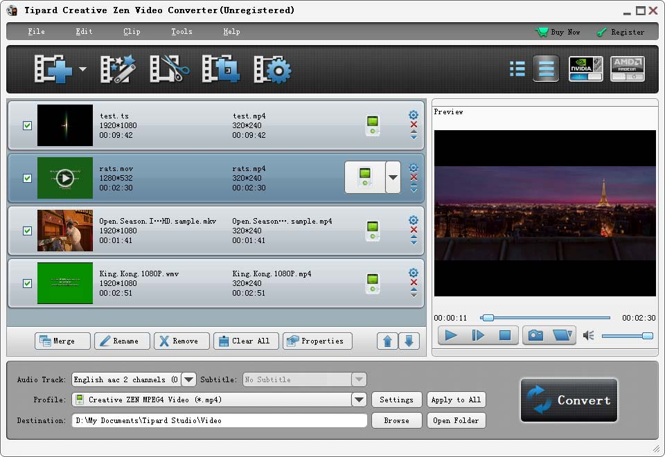 Tipard Creative Zen Video Converter screenshot
