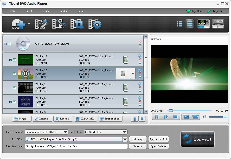 Extract audio from DVD and rip the classical dialogue in your DVD movie for MP3.