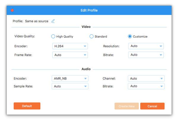 Ustaw profil MPEG i ustawienia