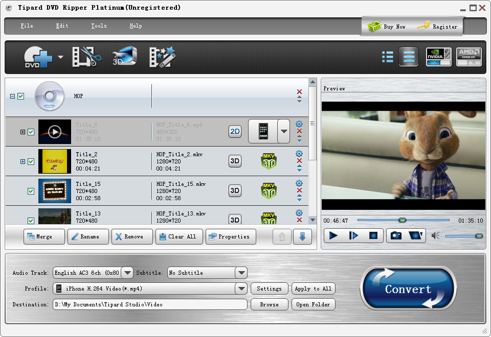 Tipard DVD Ripper Platinum is the best software to help you rip DVD to MP4, AVI, WMV, MPEG, HD video and more other popular video/audio formats. And 2D to 3D conversion is also available.
