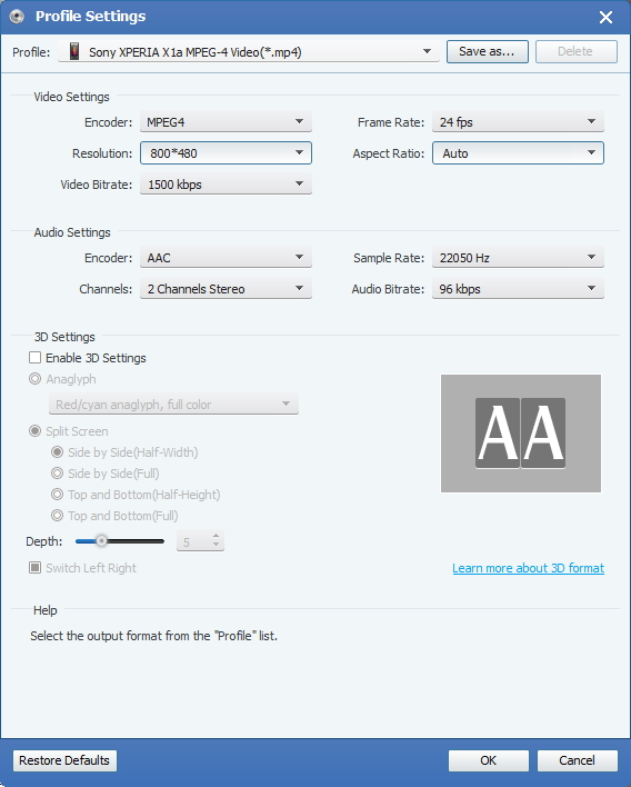 Velg Output 3GP format