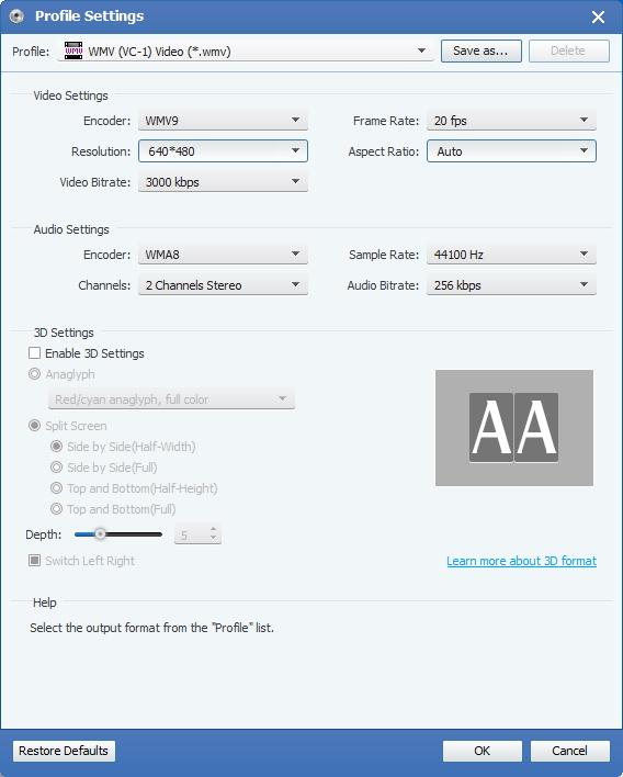 Vælg Output WMV format