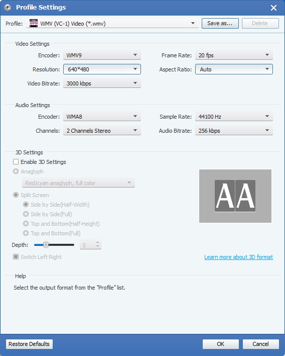 Velg Output WMV-format