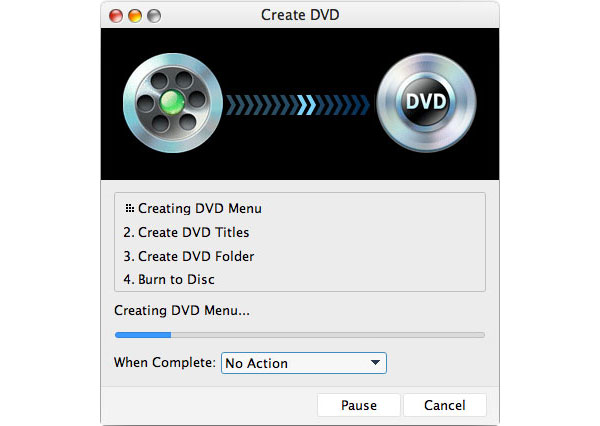 بدء حرق iMovie إلى DVD