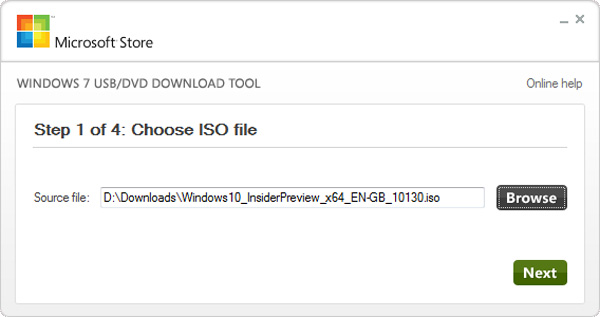 7 di Windows USB / DVD Download Tool