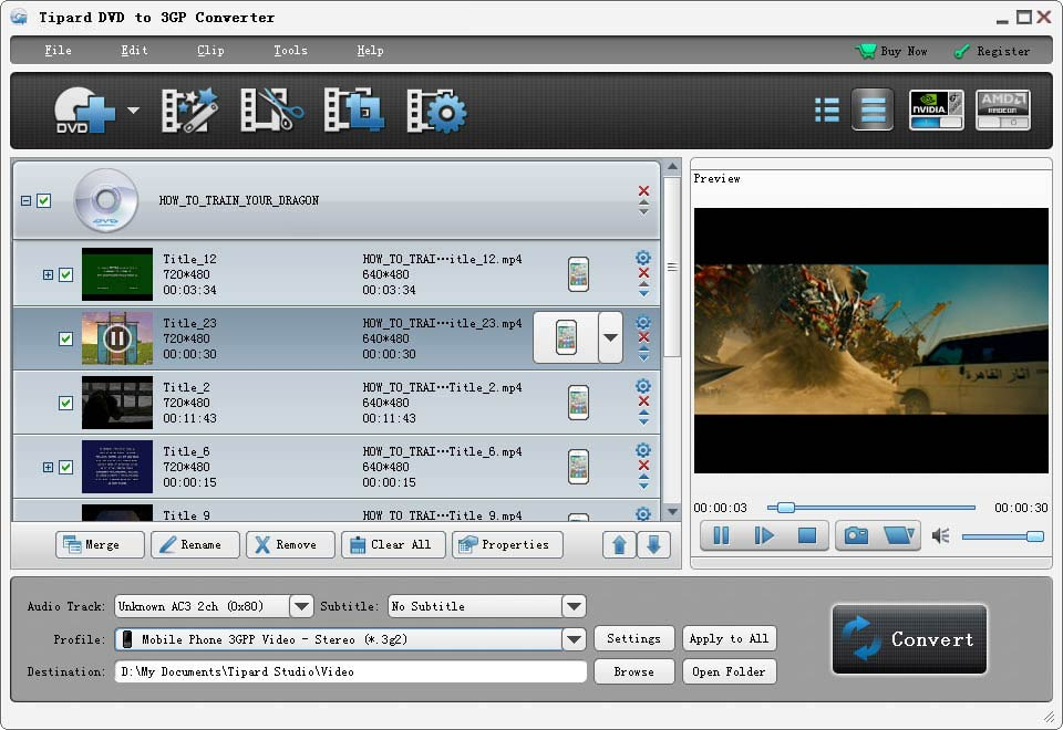 Click to view Tipard DVD to 3GP Converter screenshots