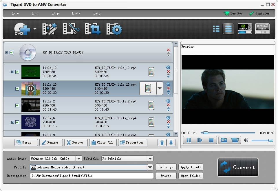 Tipard DVD to AMV Converter Screen shot