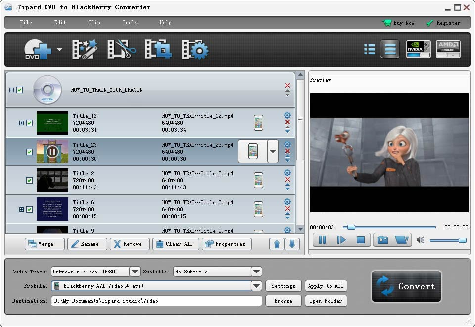 Click to view Tipard DVD to BlackBerry Converter screenshots