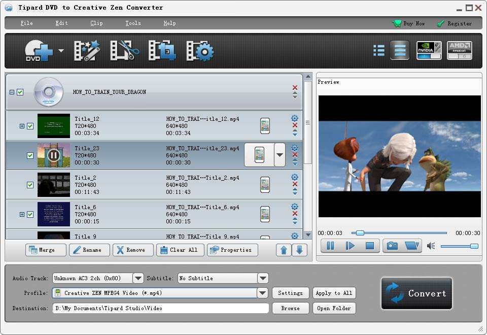 Convert DVD to Creative Zen compatible format and any audio format.