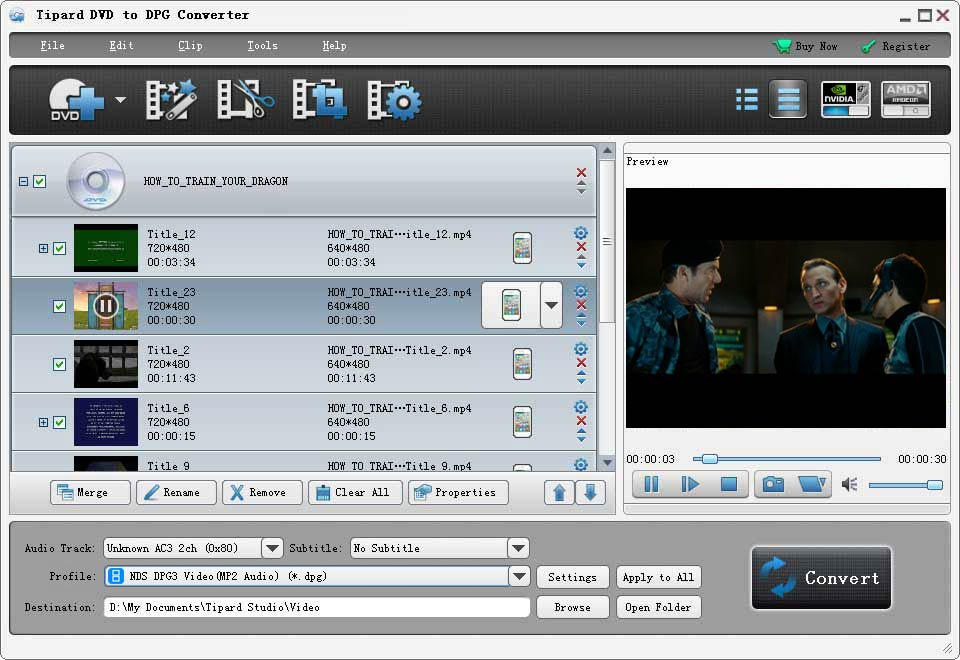Click to view Tipard DVD to DPG Converter screenshots