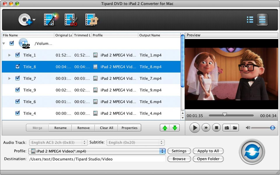 Tipard DVD to iPad 2 Converter for Mac Screen shot
