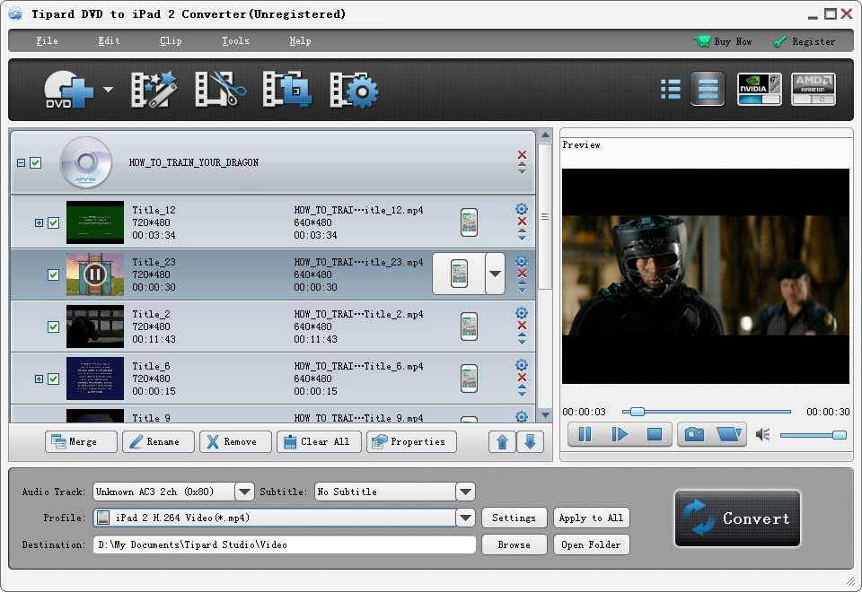 Click to view Tipard DVD to iPad 2 Converter screenshots