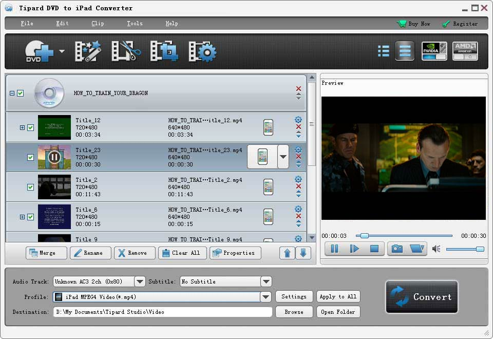 Tipard DVD to iPad Converter Screenshot