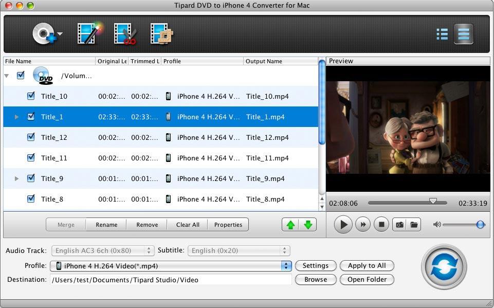 Tipard Mac DVD to iPhone 4G Converter full screenshot