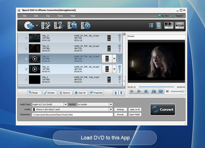 Click to view Tipard DVD to iPhone Converter screenshots