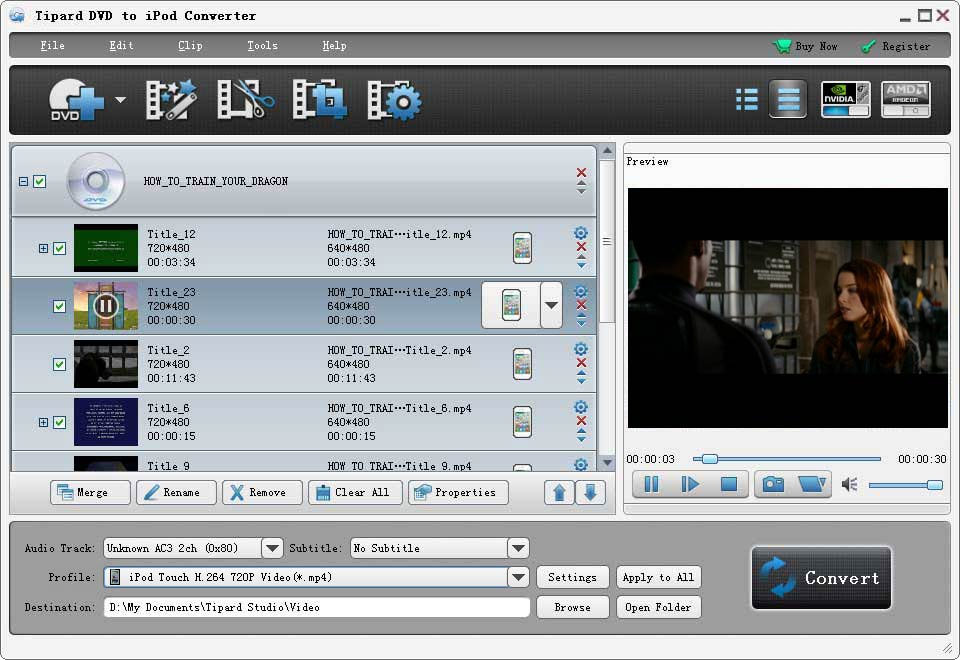 Tipard DVD to iPod Converter Screenshot