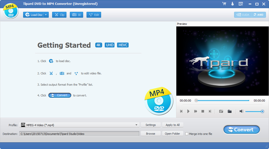 Rip DVD to MP4 and other popular video format, convert DVD to audio format.