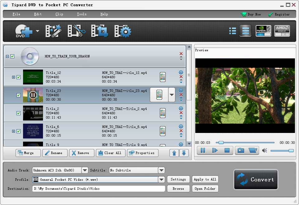 Tipard DVD to Pocket PC Converter Screenshot
