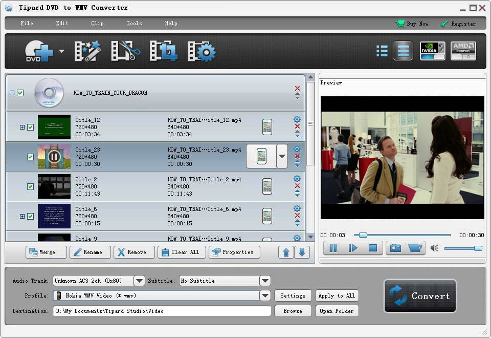 Tipard DVD to WMV Converter Screen shot