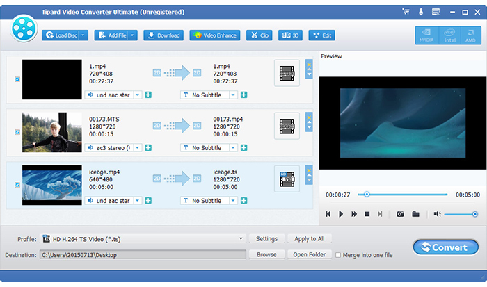 Carica file video HD