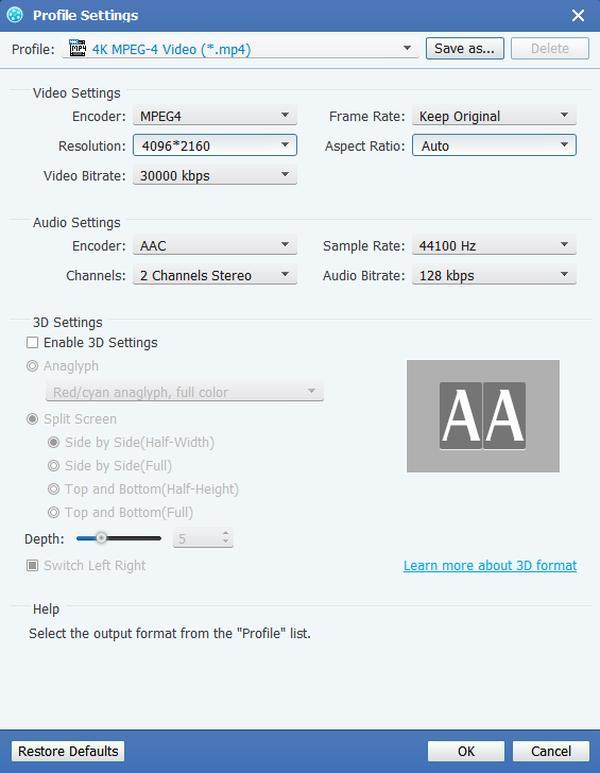 Ustawienia MPEG
