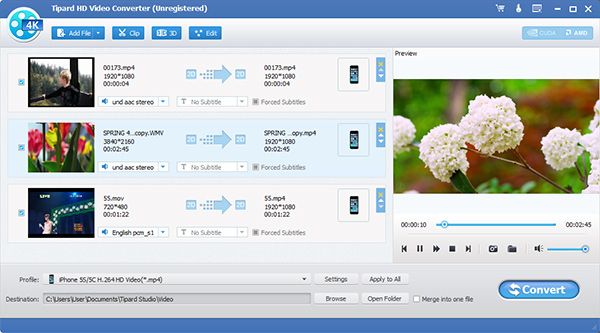 Convert HD video to MP4, MKV, AVI, WMV, MOV, M4V and more.