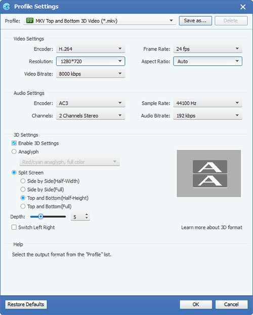 How to Convert HD Video Between HD Video and General Video Settings-mkv