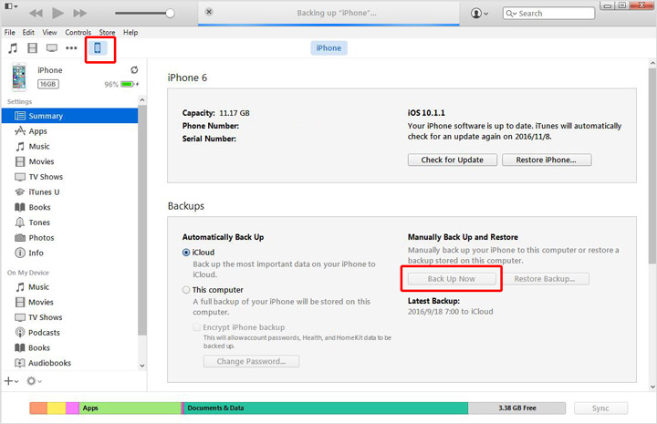 Use o iTunes para fazer o backup do iPhone