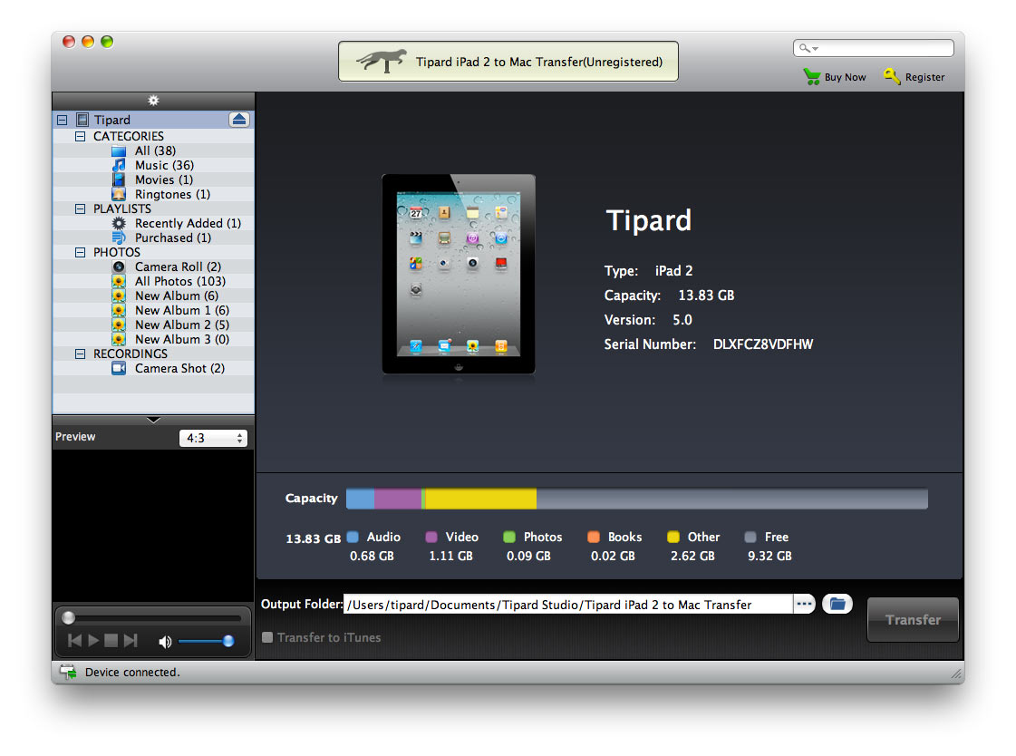 Tipard iPad 2 to Mac Transfer Screenshot