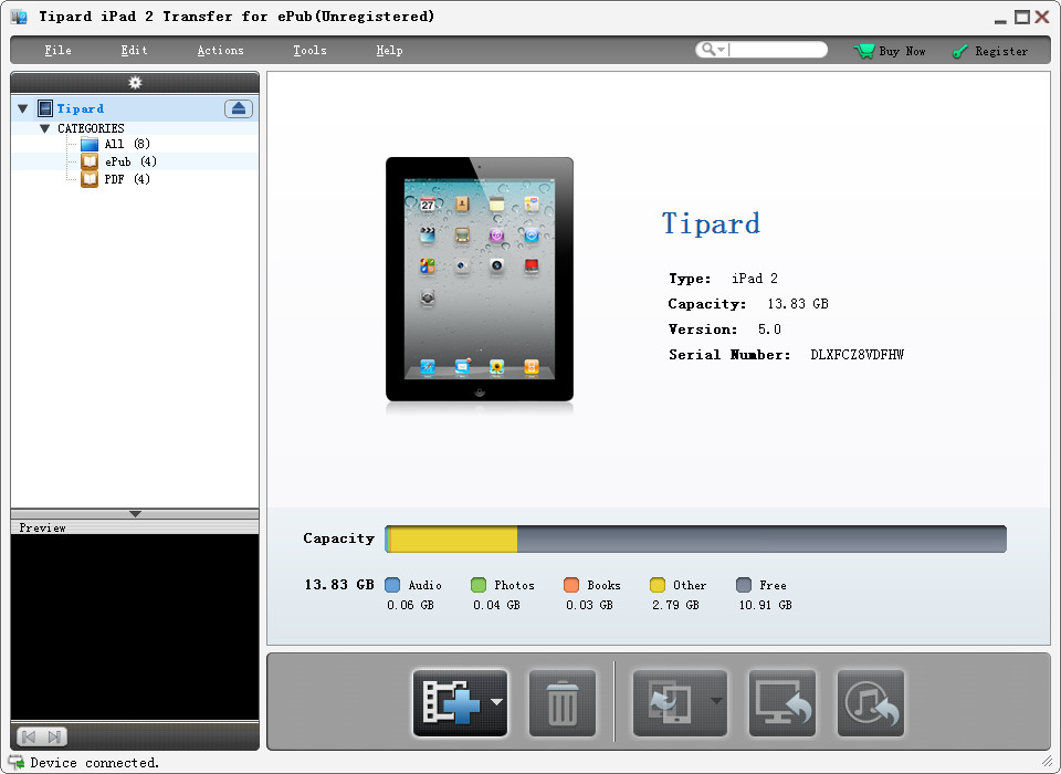 Click to view Tipard iPad 2 Transfer for ePub screenshots
