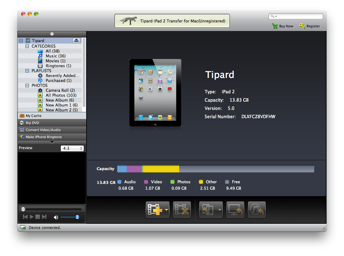 Screenshot of Tipard iPad 2 Transfer for Mac 4.0.06