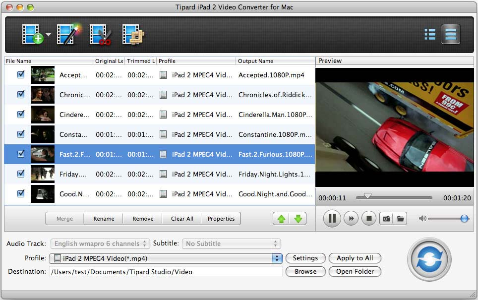 Tipard iPad 2 Video Converter for Mac Screen shot