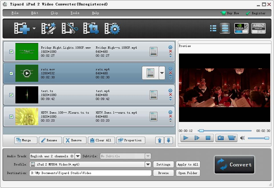 Click to view Tipard iPad 2 Video Converter screenshots