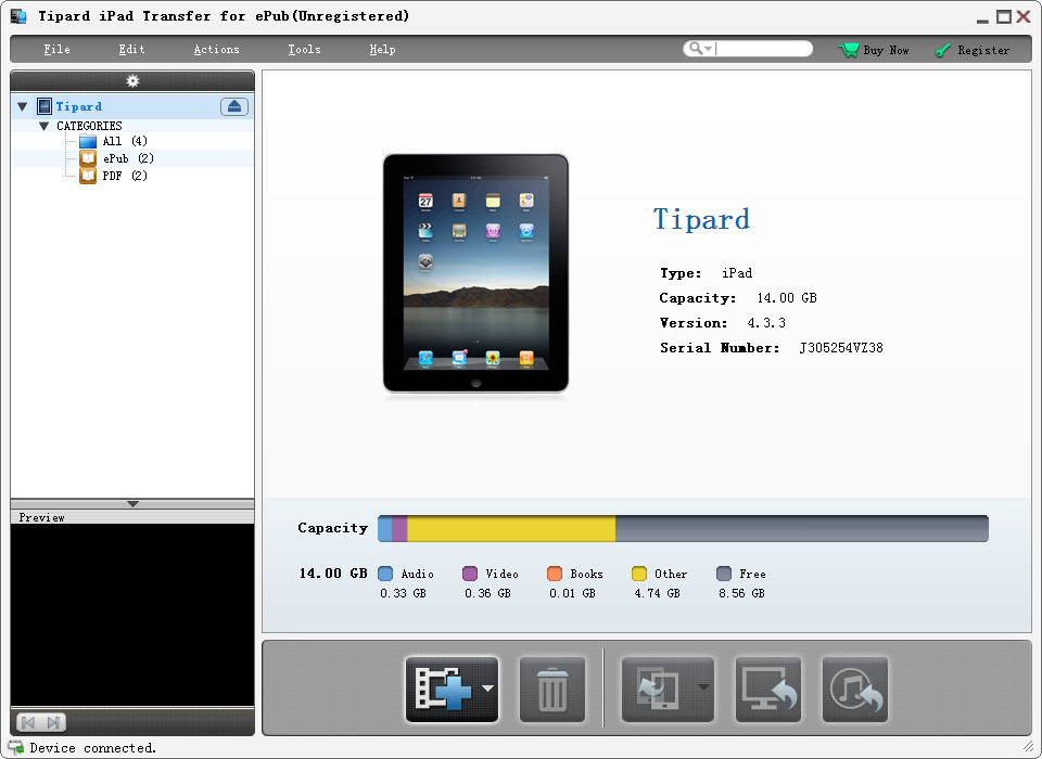 Tipard iPad Transfer for ePub Screen shot