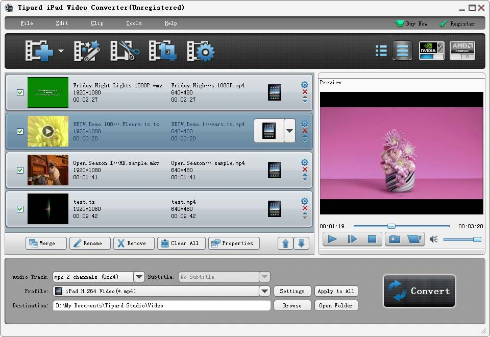 Tipard iPad Video Converter full screenshot