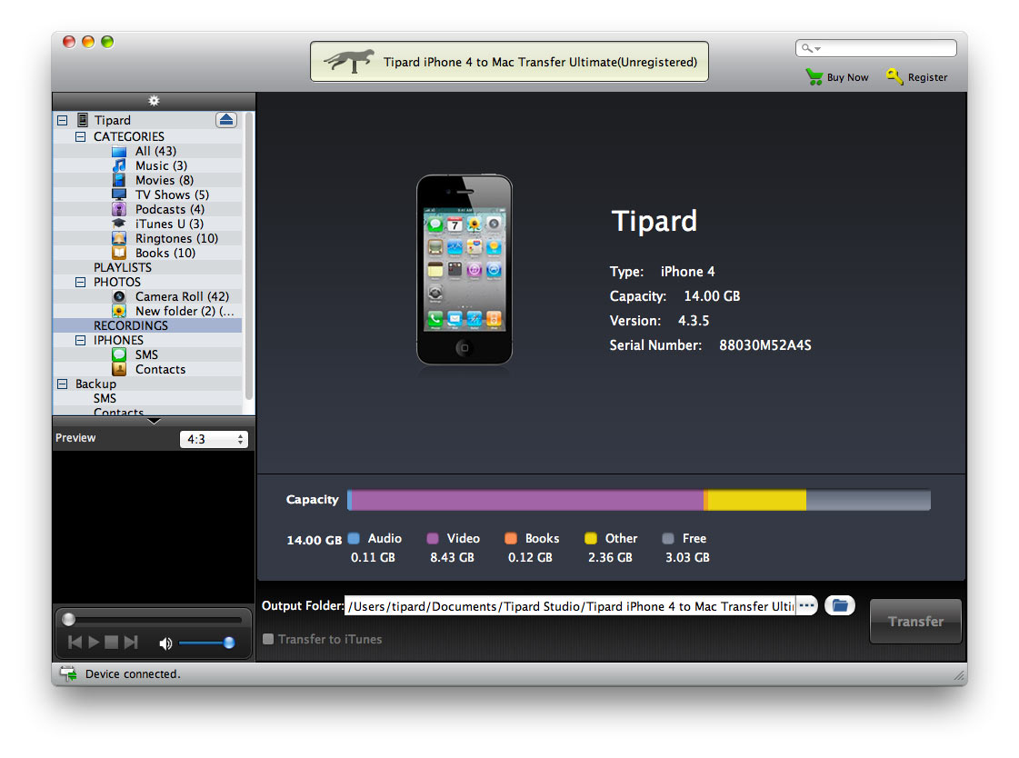 Tipard iPhone 4 to Mac Transfer Ultimate is your best choice to transfer iPhone 4 files to Mac local disk. With this iPhone 4 to Mac Transfer, you can directly copy songs, videos, photos and many other media files from iPhone 4/white iPhone 4 to Mac. Besides, you are allowed to backup Contacts and SMS, including multimedia messages on Mac for futher use.   Besides supporting iPhone 4, it also supports iPhone, iPhone 3G, iPhone 3GS, iPhone 4S, iPad, iPad 2, iPod, etc. Plus, the user-friendly interface will make sure you can finish the whole process by a few clicks. And you can enjoy the incredible speed. Moreover, it highly supports the newest iOS 5.0.1, iTunes 10.5 and various iPhone 4S files. Plus, it can output multimedia messages(MMS) to Mac.  Key Features:  1.Transfer various iPhone 4 files to Mac  You are allowed to transfer music/movie/TV Shows/Podcast/iTunes U/eBooks/Pictures/SMS/MMS/Contacts with lossless quality from iPhone 4 to your Mac with amazing processing speed and high efficiency.  2.iPhone 4 to iTunes  Using Tipard iPhone 4 to Mac Transfer, you are allowed to export iPhone 4 files to iTunes directly.   3.Check for your iPhone 4 information  Once you connect your iPhone 4 to Mac, it can instantly recognize your iPhone 4 and show all its detailed information, including type, capacity, version and serial number.  4.Work well with all iPhone/iPad/iPod models  Support iPhone, iPhone 3G, iPhone 3GS, iPhone 4/white iPhone 4 and iPhone 4S; iPad Wi-Fi, iPad Wi-Fi+3G, iPad 16GB, iPad 32GB, iPad 64GB; iPod 1G, iPod 2G, iPod 3G, iPod 4G, iPod classic, iPod mini, iPod nano 1, iPod nano 2, iPod nano 3, iPod nano 4, iPod nano 5, iPod nano 6, iPod shuffle 1, iPod shuffle 2, iPod shuffle 3, iPod touch, iPod touch 2, iPod touch 4, iPod Video, iPod Firmware 3.0/3.1.