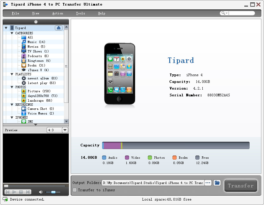 Tipard iPhone 4 to PC Transfer Ultimate Screen shot