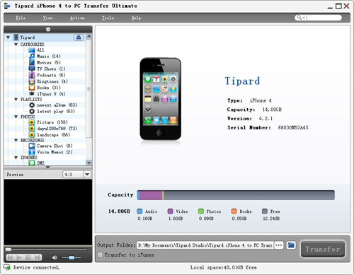 Connect iPhone 4 to PC