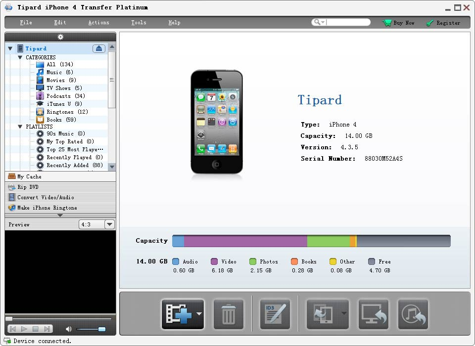 Click to view Tipard iPhone 4 Transfer Platinum screenshots