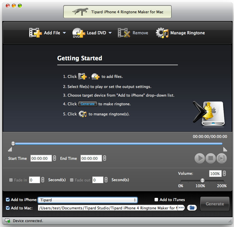Tipard iPhone 4 Ringtone Maker for Mac Screenshot