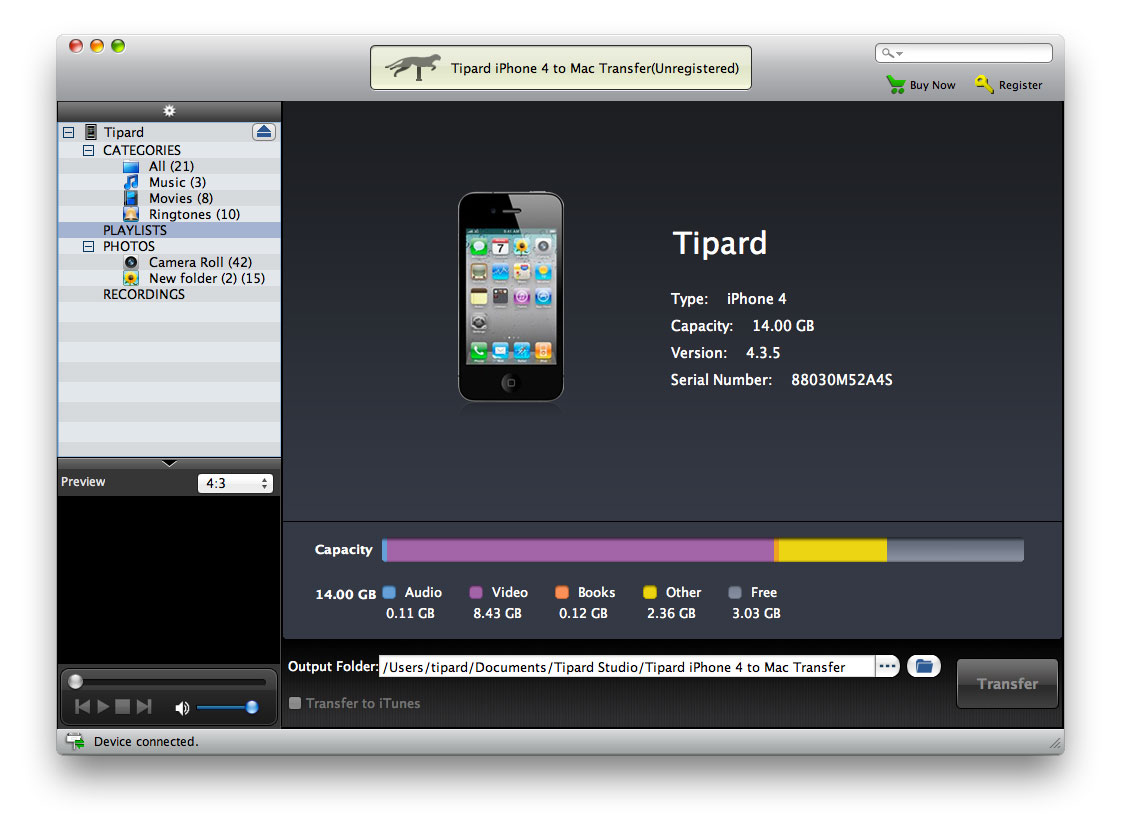 Tipard iPhone 4G to Mac Transfer Screen shot