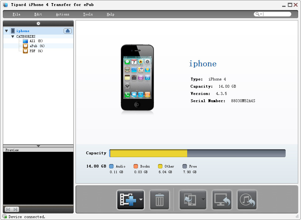 Tipard iPhone 4G Transfer for ePub screenshot