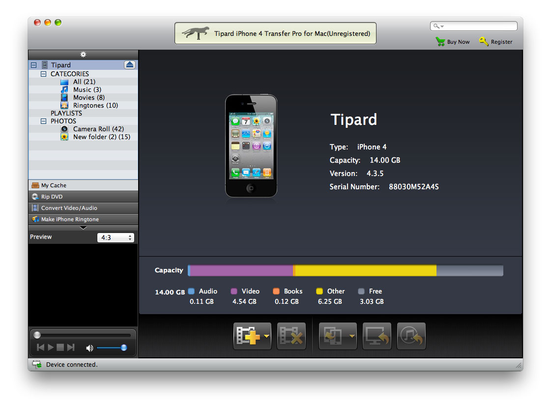 Tipard iPhone 4 Transfer Pro for Mac Screenshot