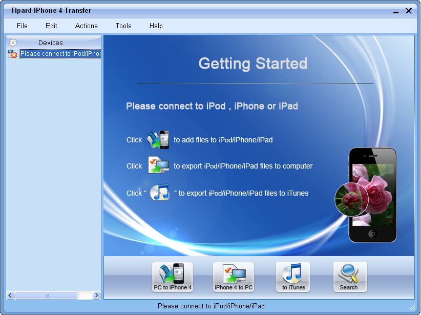 Transfer files between iPhone 4G and PC.