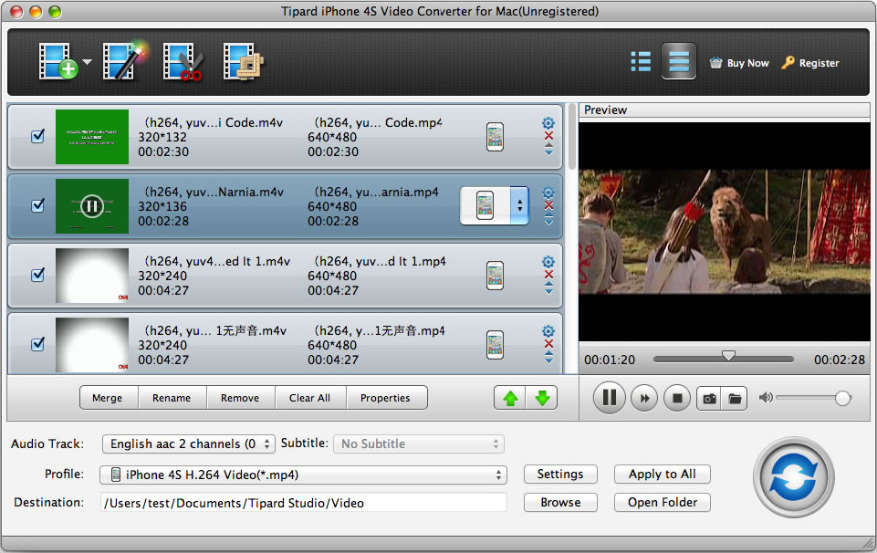 Tipard iPhone 4S Video Converter for Mac Screen shot
