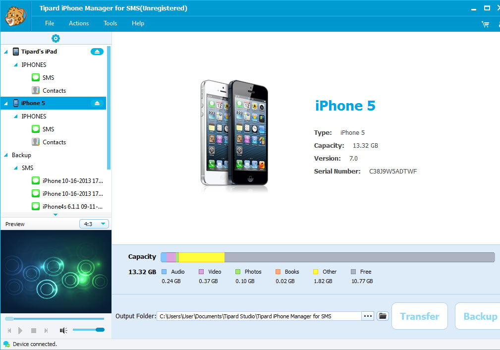 Tipard iPhone Manager for SMS Screen shot