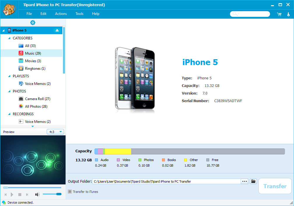 Windows 7 Tipard iPhone to PC Transfer 7.0.28 full