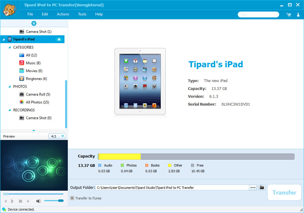 Tipard iPod to PC Transfer Screenshot