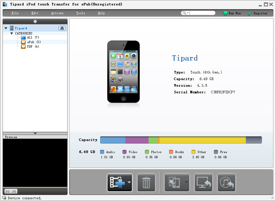 Tipard iPod touch Transfer for ePub screenshot