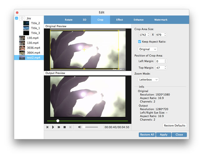 ajustar o efeito de vídeo
